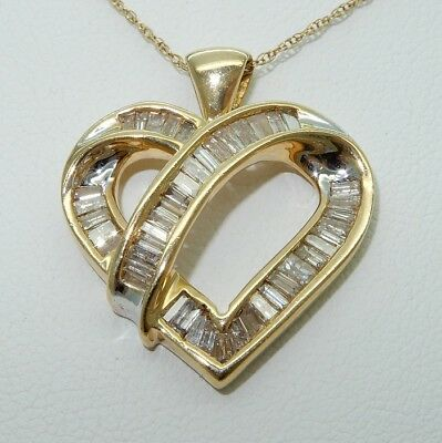 """Gorgeous 10Kt Yellow Gold and Diamond Heart Pendant- 4.7g- .50 TCW - 19"""" - NICE!"""