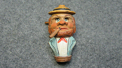 Vintage Hand Carved Head With Mechanical Eyes And Cigar-Novelty Bottle Stopper