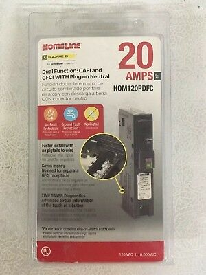 Square D Homeline Hom120Pdfc 20A Dual Function Plug In Breaker