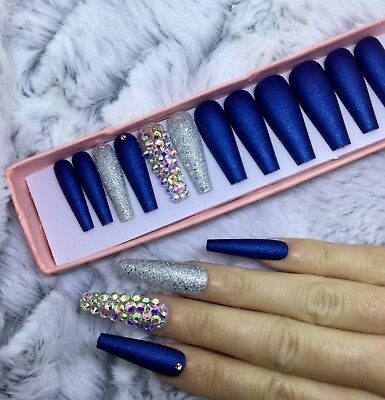 Navy Blue Shimmer Matte Diamante False Fake Extra Long Ballerina Nails Set