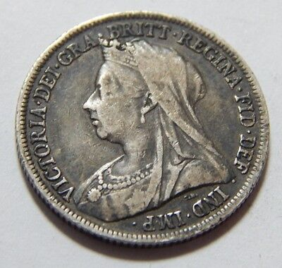 1899 UK Sterling Silver Shilling Coin - Queen Victoria Veiled Head