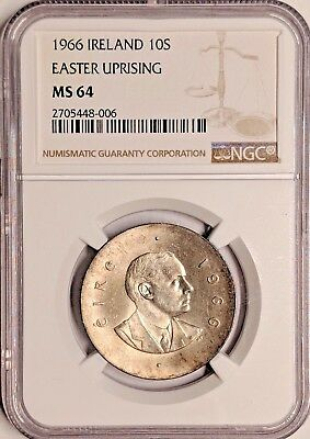 1966 MS64 Ireland Silver 10 Shillings UNC KM 18 Eire NGC Easter Uprising Toned