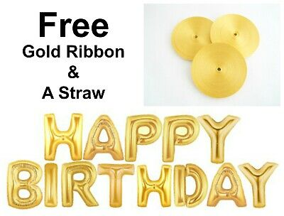 """16"""" Gold Silver Rose Gold Happy Birthday Foil Balloons Party Decorations Ribbon."""