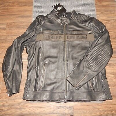 NWT Mens HARLEY-DAVIDSON Absolutely INCREDIBLE Black Leather Jacket! Size 3XL
