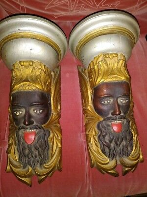 Pair of Vintage Carved Oak Dimensional Sconces of Neptune, Excellent Condition