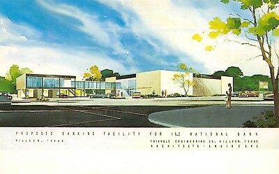 Killeen Texas c1961 Postcard Proposed Building For First National Bank Building