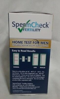 SpermCheck Fertility Home Test for Men 1 test  exp 01/2020 Free Shipping