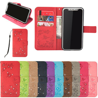 For Samsung Galaxy J3 J5 2016 J8 Bling Leather Case Magnetic Flip Wallet Cover