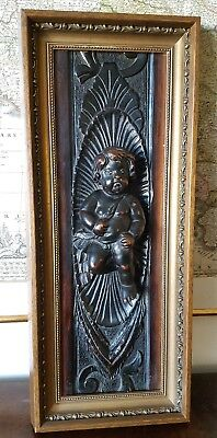 Antique 18Th C. Carved Wood Panel Cherub Putti French Italian Renaissance Angel