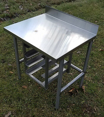 Restaurant stainless work table stainless top fixed backsplash w/ 4 shelf racks
