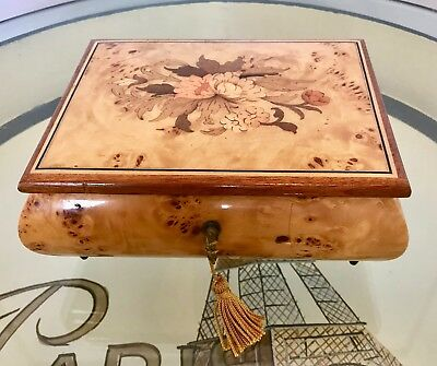 """Reuge Italy Swiss Musical Movement Inlaid Wood Music Box """"The Way We Were"""""""