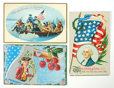 Lot of 3 - 1910 Era George Washington Themed Antique Post Cards