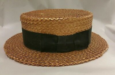 Vintage 1920's Light Brown Brooks Brothers Straw Hat  Boater Panama