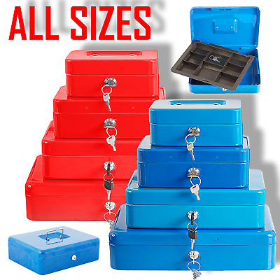 Metal Security Cash Box Money Bank With Coin Tray Steel Tin Petty Safe Lockable