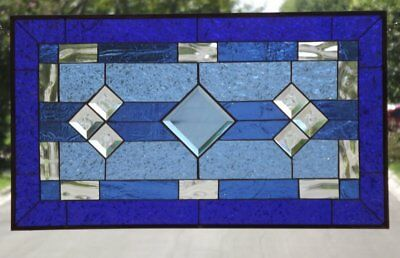 "• Classic Blue •Beveled Stained Glass Window Panel- 28 1/2"" x16 1/2""(72x42cm) *"