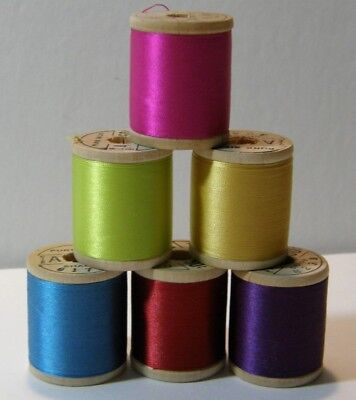 6 Vntg Wood Spool Jewel Colors Belding Corticelli Silk Thread Unused 100 Yds Ea