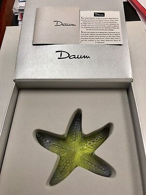 Daum France Crystal Signed Starfish Yellow With Purple Tips Mint In Box