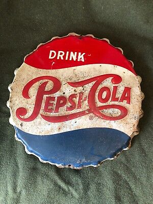 Early PEPSI COLA Bottle Cap Soda Advertising Sign Crimped Embossed Single Dot19""