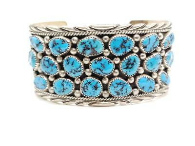Vintage Sterling Silver & Turquoise Row Cuff Bracelet Navajo Signed James Shay