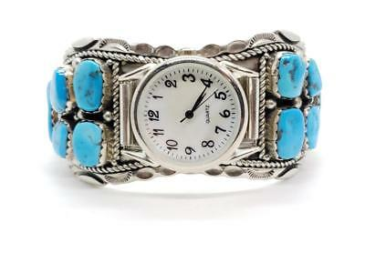 Large Vintage Sterling Silver & Turquoise Watch Cuff Bracelet Navajo Signed T