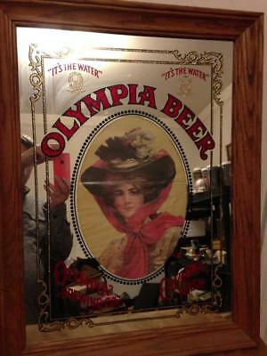 Vintage Olympia Beer Mirror Sign Rose Veil Lady Its the Water Wood Frame
