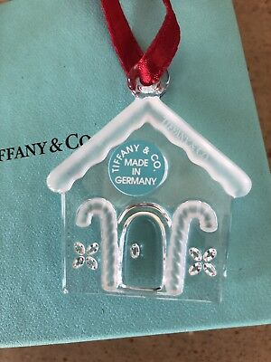 "Tiffany & Co. ~ ""Gingerbread House"" ~ Flat ~ Crystal Ornament ~ Mint ~ Rare"