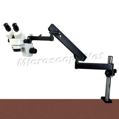 7X-45X Zoom Stereo Microscope+Articulating Arm Stand+Metal 144 LED Ring Light