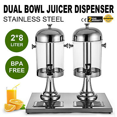 2*8L Juice Drink Beverage Dispenser Bars Orange Stainless Steel Home Kitchen