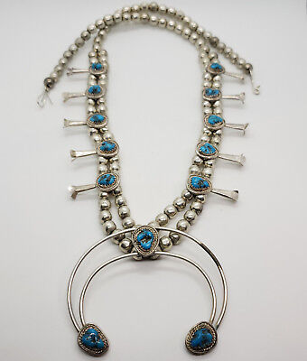 Vintage Sterling Silver & Turquoise Squash Blossom Necklace Navajo Old Pawn