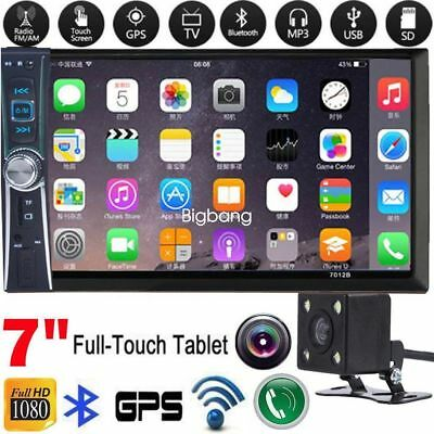 2DIN 7 HD Car Stereo Radio MP5 Player Bluetooth Touch Screen Rear Camera-inp US