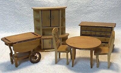 Vintage Lot Wooden Dollhouse Furniture Teacart Table Hutch Dining Room Shackman