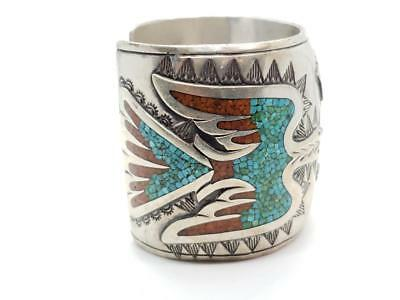 Vintage Sterling Silver, Coral, & Turquoise Inlay Cuff Bracelet Zuni Signed P