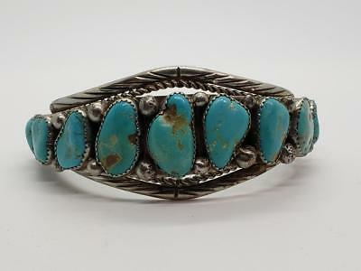 Vintage Sterling Silver & Turquoise Cuff Bracelet Navajo Laura J Dabbs & Sons
