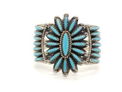 YOUTH/SMALL Vintage Sterling Silver & Turquoise Cluster Cuff Bracelet Navajo CJ