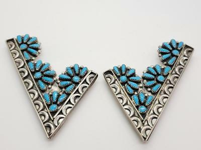 Vintage Sterling Silver & Turquoise Cluster Collar Tips Navajo Old Pawn