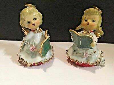 "2 Vintage Leftons Porcelain Christmas Singing Angel Bells 4"" Signed"