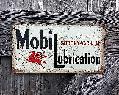 Mobil Lubrication Socony Vacuum Pegasus Motor Oil Company Tin Metal Wall Sign