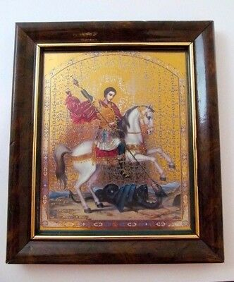 Old Vintage Estate Russian Orthodox Gold Foil St. George Icon in Lacquer Frame