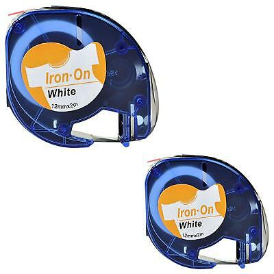 2PK 18771 Compatible for DYMO White Fabric Tape Iron ON Label Refill 1/2 6.5IN