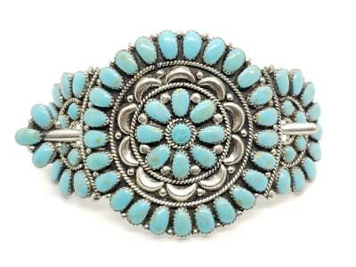 Large Vintage Sterling Silver & Turquoise Cluster Hair Pin Navajo Signed SWMS