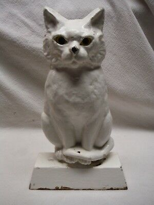 Vintage White Cast Iron Metal Sitting Cat Door Stop Glass Eyes