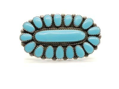 Vintage Sterling Silver & Turquoise Cluster Ring Navajo Old Pawn