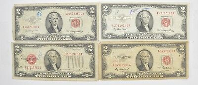 Lot (4) Red Seal $2.00 US 1953 or 1963 Notes - Currency Collection *454