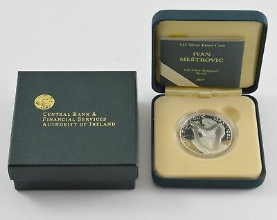 2007 Central Bank of Ireland Silver Proof 15 Euro Coin - Ivan Mestrovic *6781