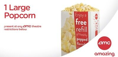 AMC Theaters Certificates For 1 Large Popcorn + 1 Large Fountain Drink Exp Jun19