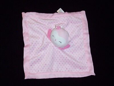 Carters Child of Mine Pink Owl Hearts Baby Blanket Satin Security Lovey