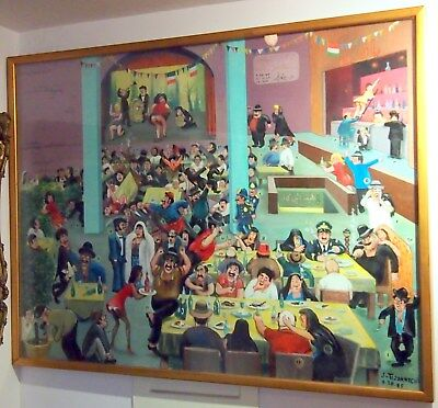 "Lalezar Cabaret Rare Large Painting C1986 By Listed:jaffar Tejatatchi 50""x38"""