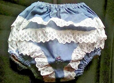 Vtg Lacy Pvc Vinyl Plastic Baby Or Reborn Pants Nappy Diaper Cover Denim Blue S