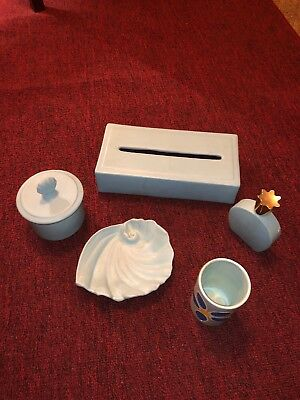 Vintage KAY FINCH California Pottery Turquoise Matte. Lot Of 5
