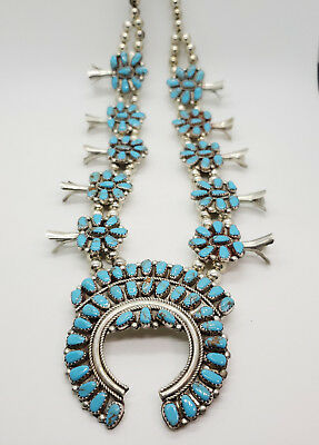 Vintage Sterling Silver & Turquoise Squash Blossom Cluster Necklace Navajo